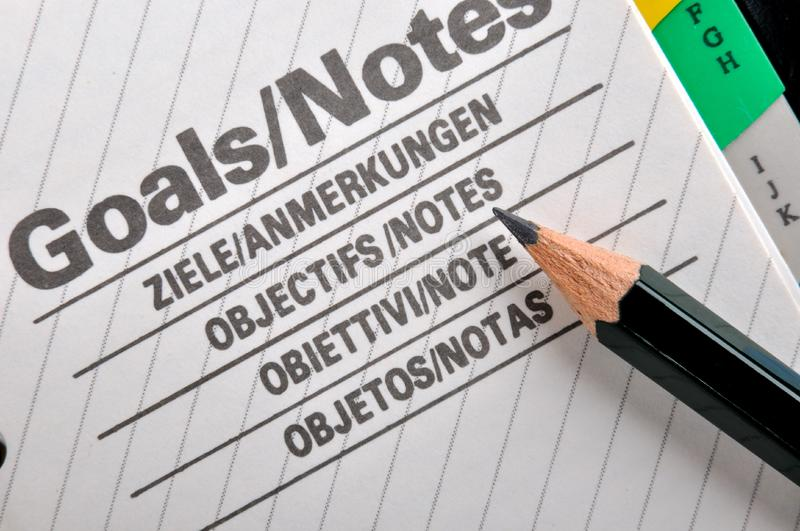 Download Pencil and goals working stock image. Image of page, objective - 18633949