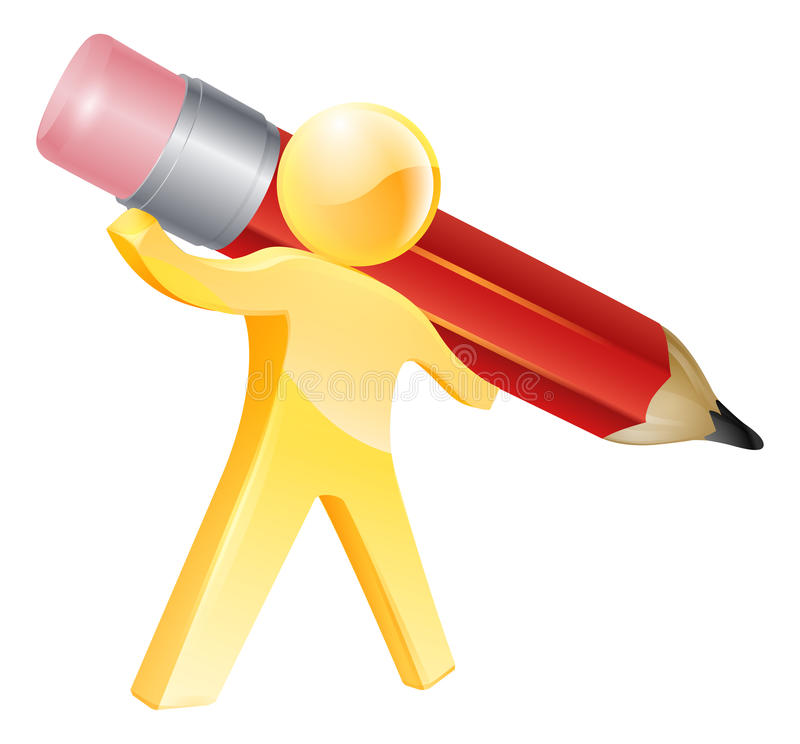 Pencil gold person vector illustration