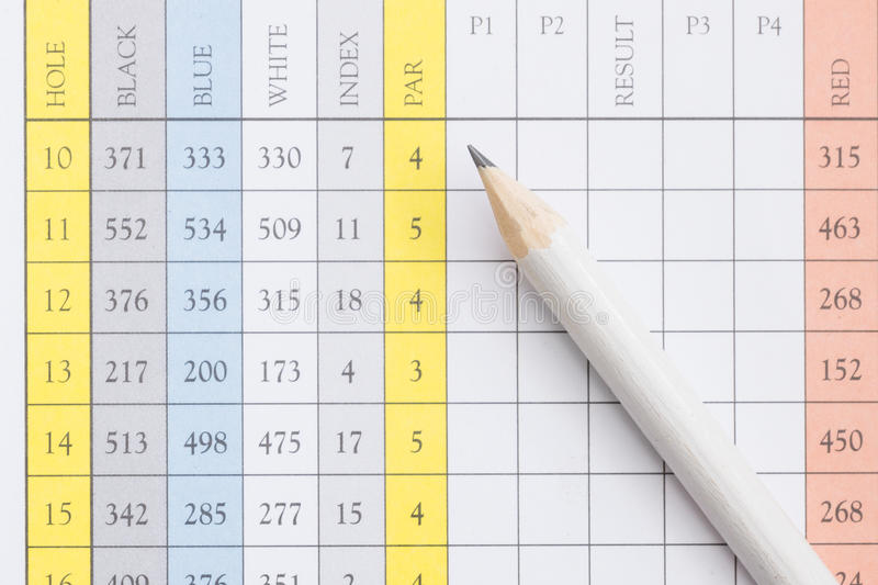 Pencil on a golf scorecard. A pencil sitting on a golf score card royalty free stock images