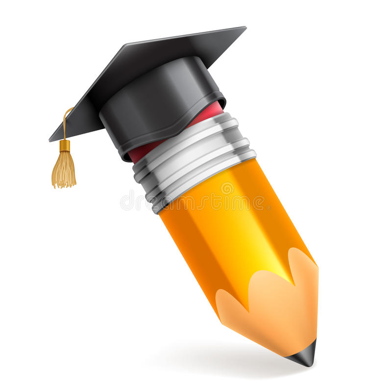 Pencil and Graduation Cap Icon. Pencil and graduation cap or mortar board. Vector education icon royalty free illustration