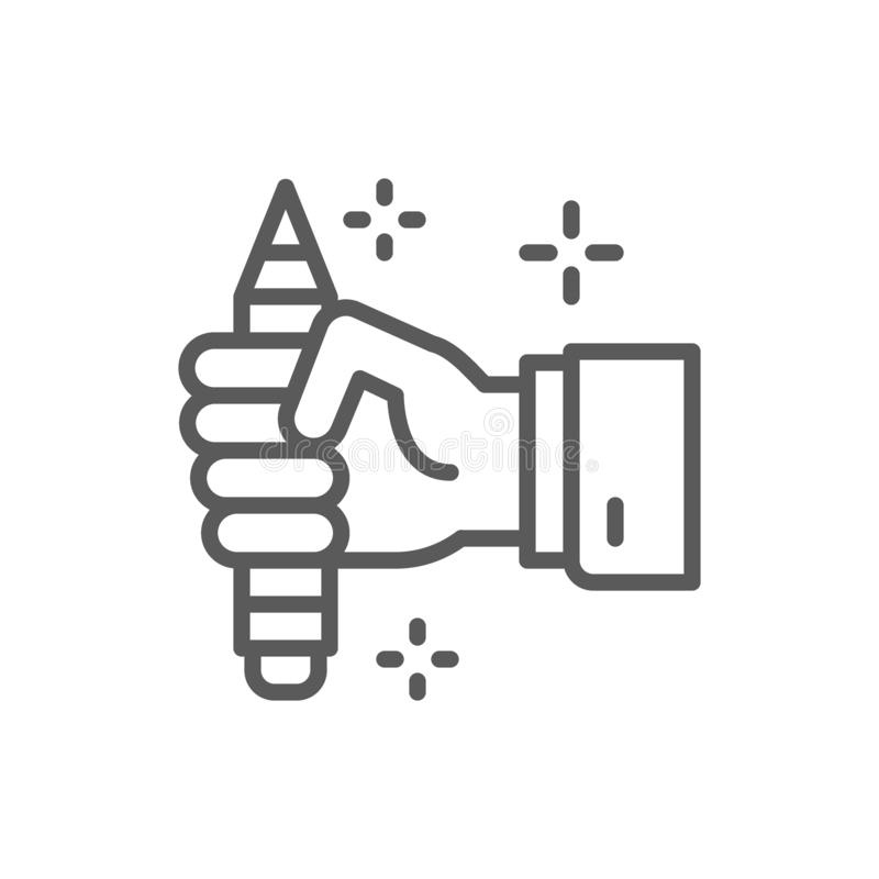 Pencil in hand, copywriting, writer line icon. vector illustration