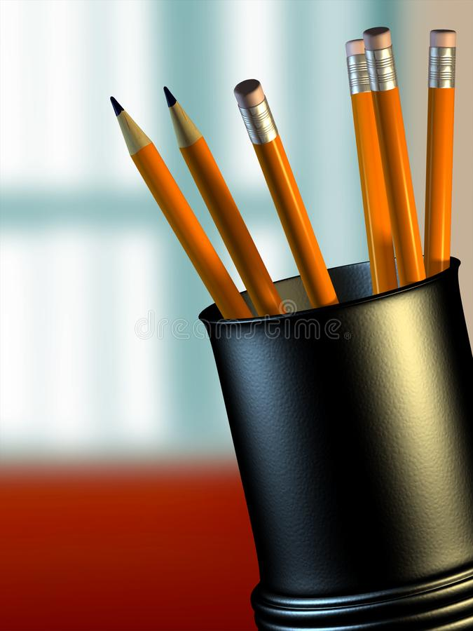 Pencil holder. Some new pencils in a plastic holder. Digital illustration royalty free illustration