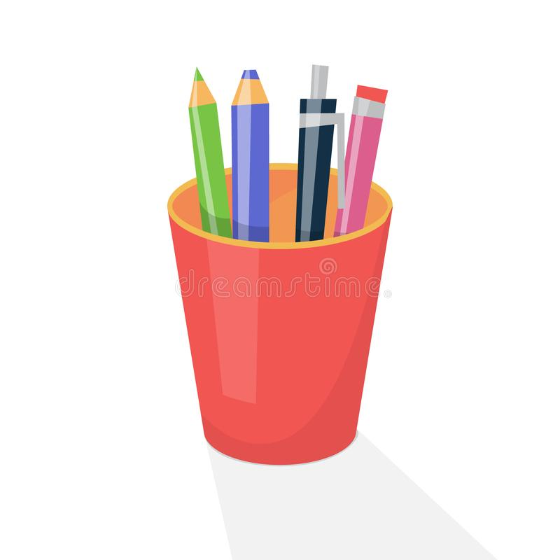 Pencil holder with drawing tool. School equipment. Such as pencil and pen. Desk element. Isolated flat vector illustration vector illustration
