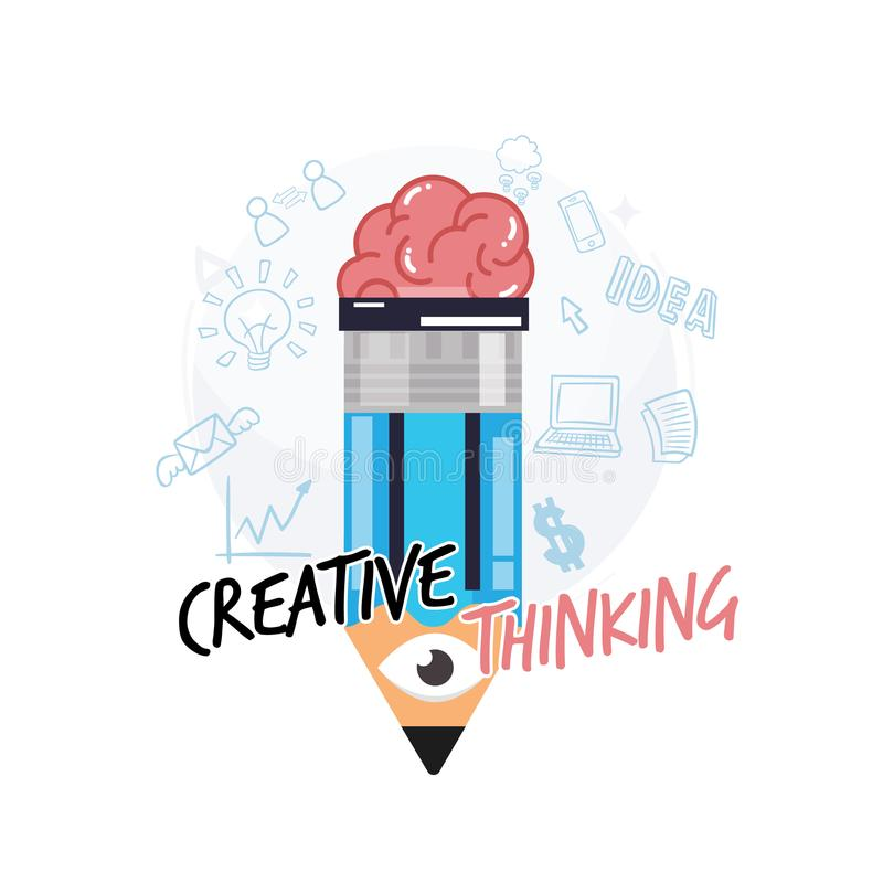 pencil with human brain and eye. creative or intelligence concept. come with text letter - vector royalty free illustration
