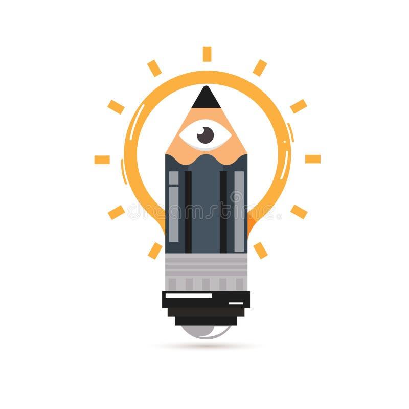 Pencil with human eyes as lightbulb of idea. Cretive process - v stock illustration
