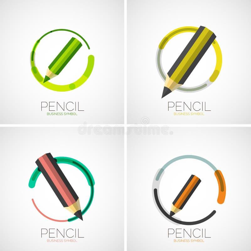 Pencil icon set, company logo, minimal design royalty free illustration