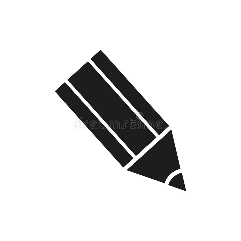 Pencil Icon Vector in a flat design on a white background stock illustration