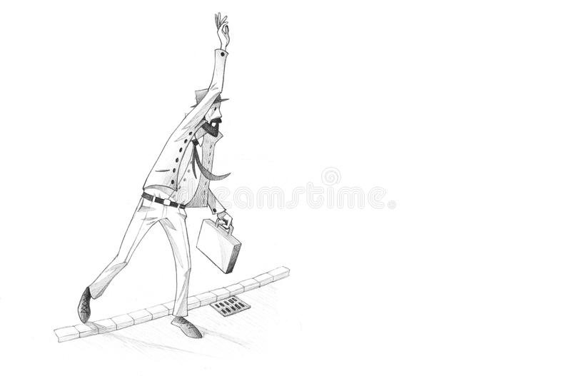Pencil Illustration, Drawing of Man calling for a cab in a rush stock illustration