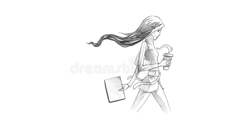 Pencil Illustration, Drawing of Young Woman With Her Coffee To
