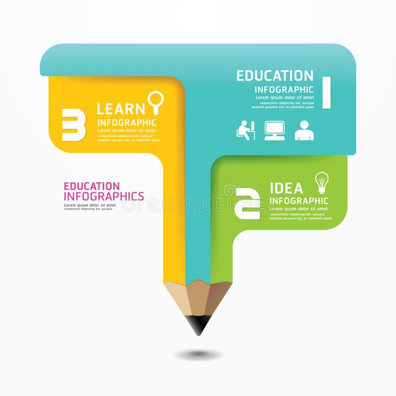 Pencil Infographic Design Minimal style template. stock illustration