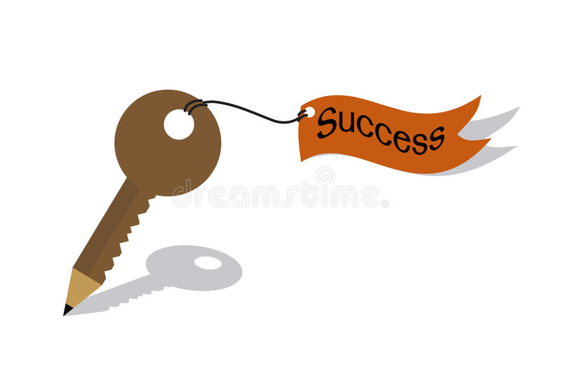 Pencil key and flag of success concept stock illustration