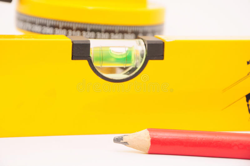 Pencil With A Laser Spirit Level Stock Photo