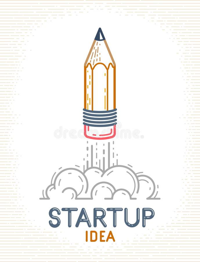 Pencil launching like a rocket start up, creative energy genius artist or designer, vector design and creativity logo or icon, art. Startup stock illustration