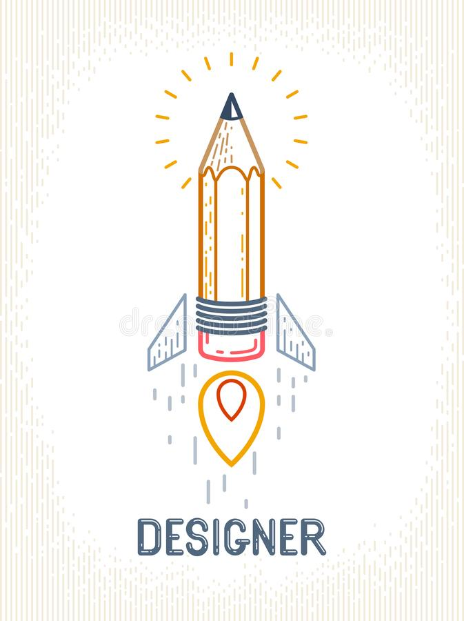 Pencil launching like a rocket start up, creative energy genius artist or designer, vector design and creativity logo or icon, art. Startup vector illustration