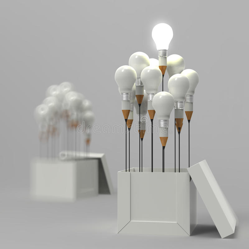 Pencil light bulb 3d as think outside of the box. And leadership as concept royalty free illustration