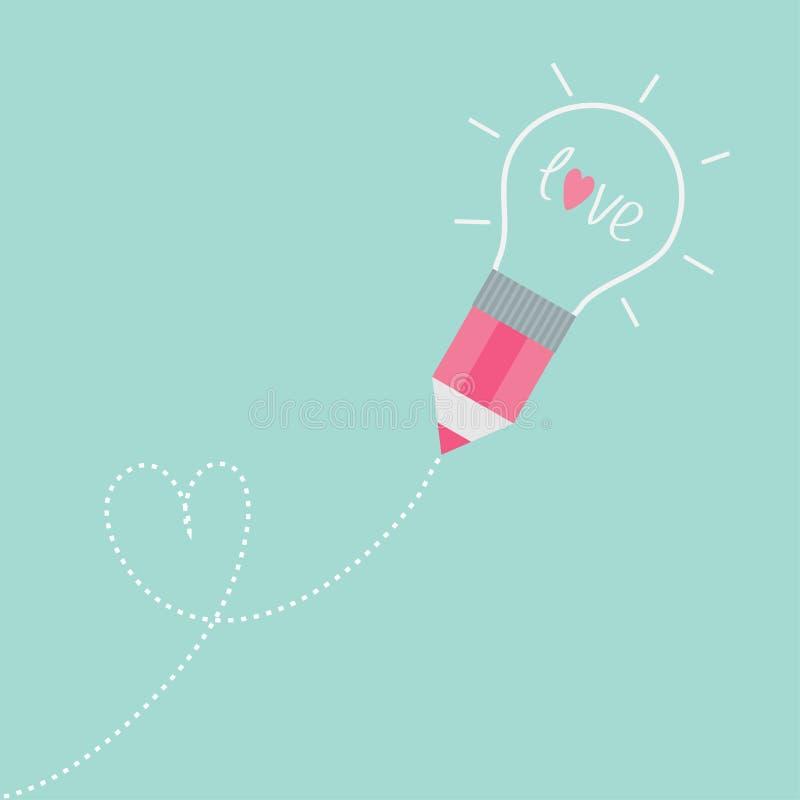 Pencil with light bulb. Dash line heart. Flat design love card. Vector illustration vector illustration