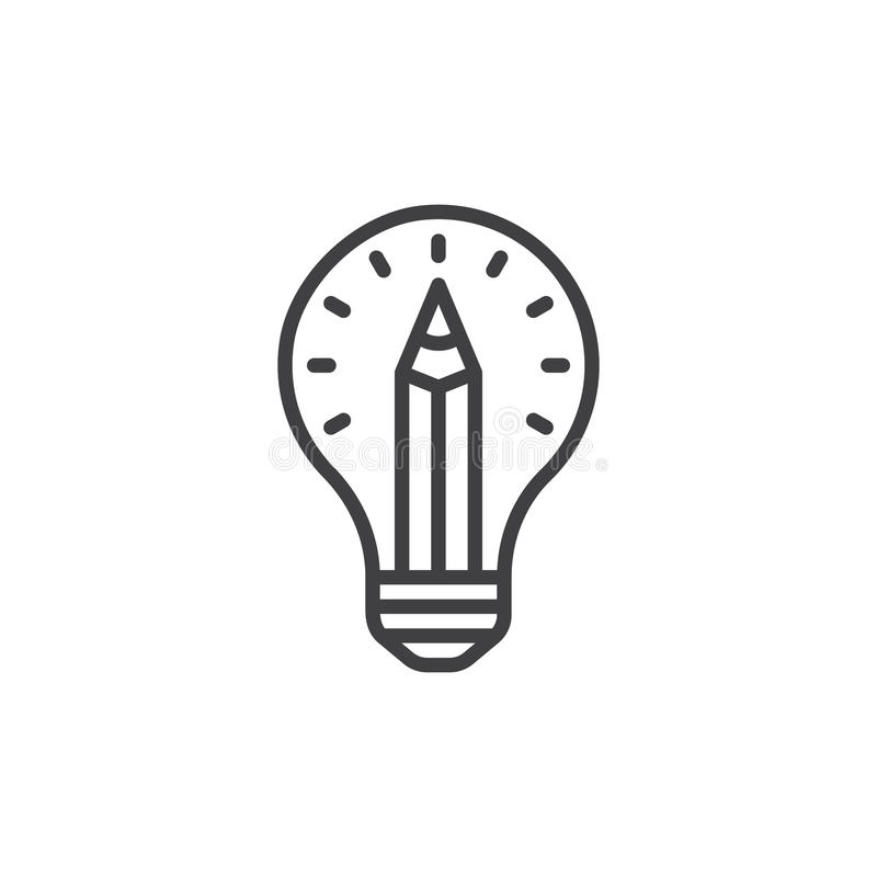 Pencil in light bulb line icon, outline vector sign, linear style pictogram isolated on white. royalty free illustration