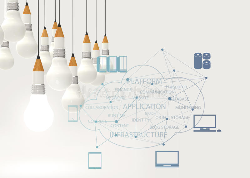 Pencil lightbulb 3d and cloud network diagram stock illustration download pencil lightbulb 3d and cloud network diagram stock illustration illustration of drawing infrastructure ccuart Images