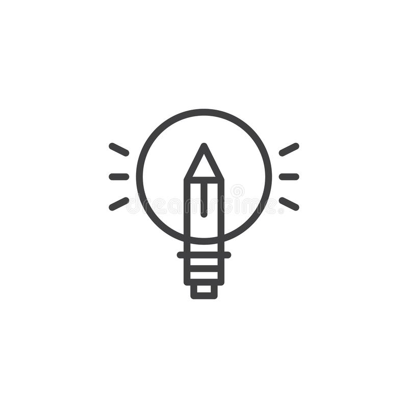 Pencil lightbulb outline icon royalty free illustration