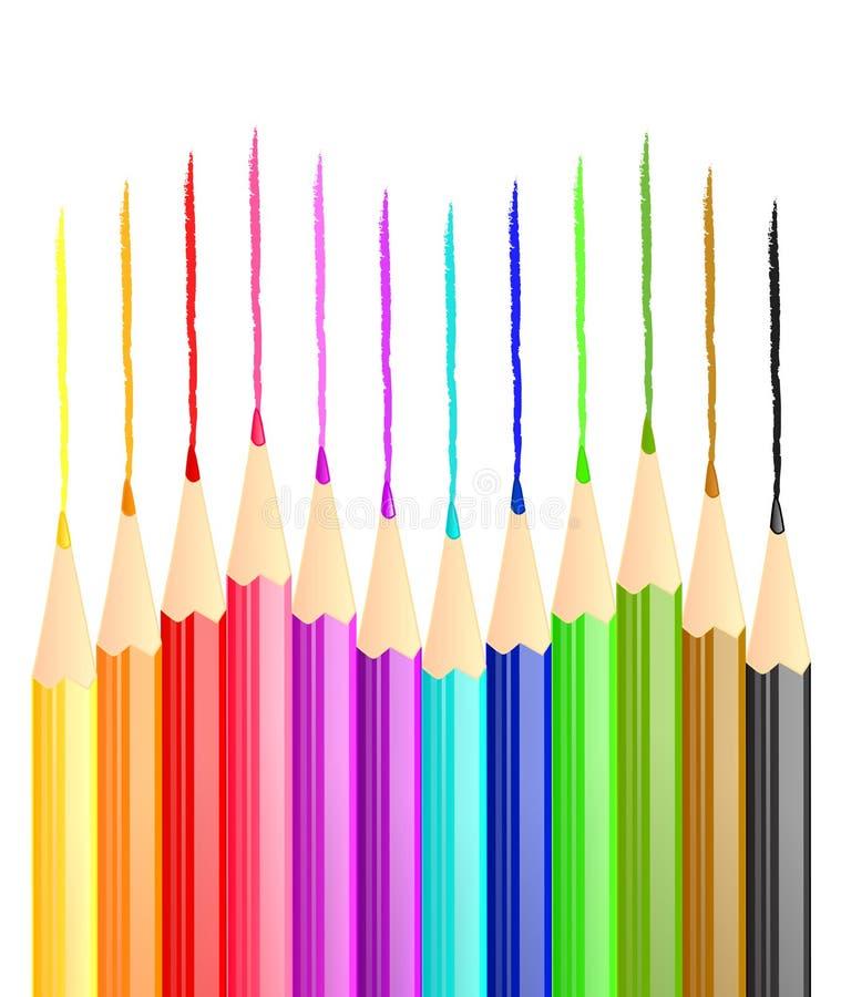 Download Pencil lines stock vector. Image of orange, blue, wood - 25139679