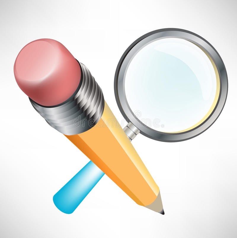 Pencil and magnifying glass stock illustration