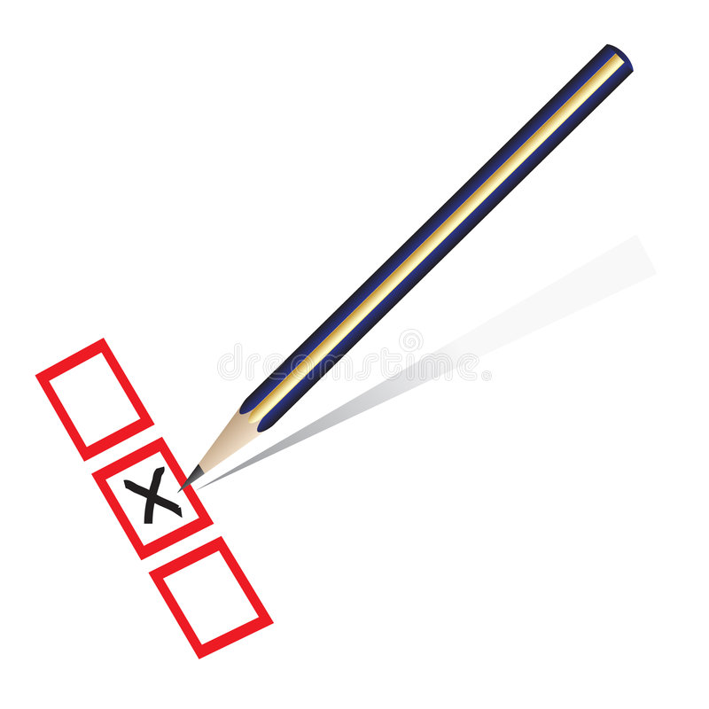 Pencil marking x on a piece of paper. Vector - Illustration of a pencil marking x on piece of paper stock illustration