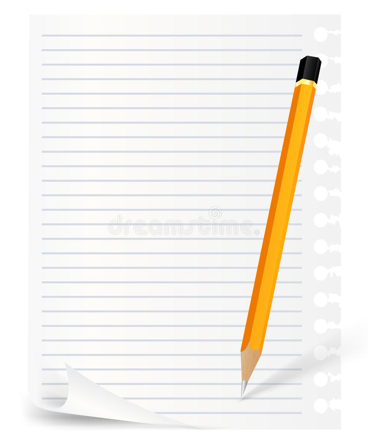 Download Pencil and note sheet stock vector. Image of sharpened - 19616879