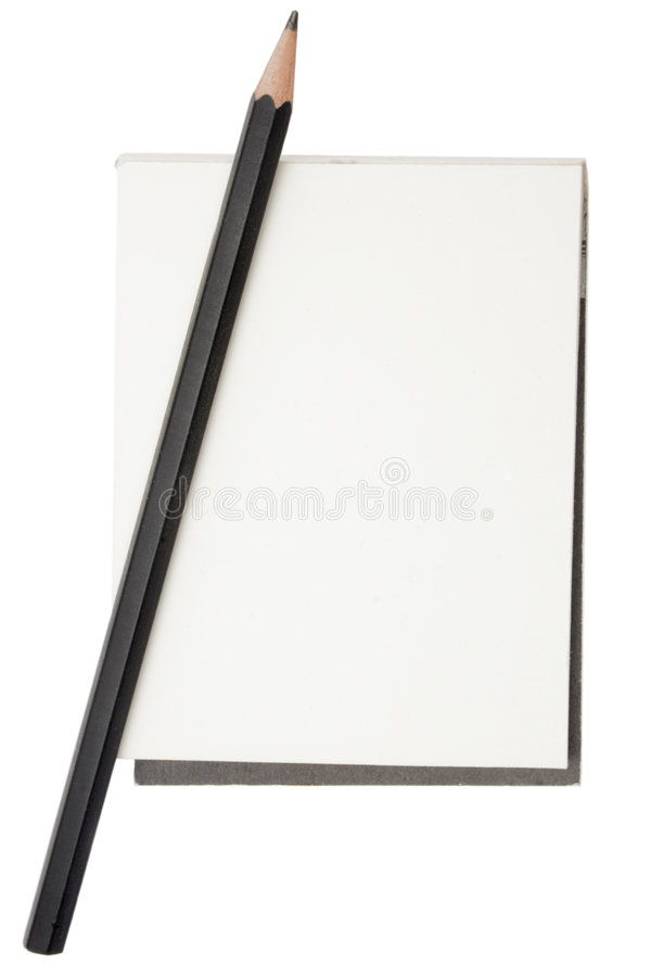 Pencil and Notepad stock images