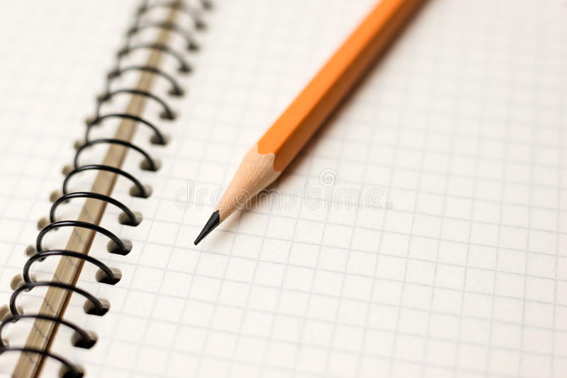 Download Pencil On The Pages Of An Open Notebook For Records Stock Photo - Image: 83714254