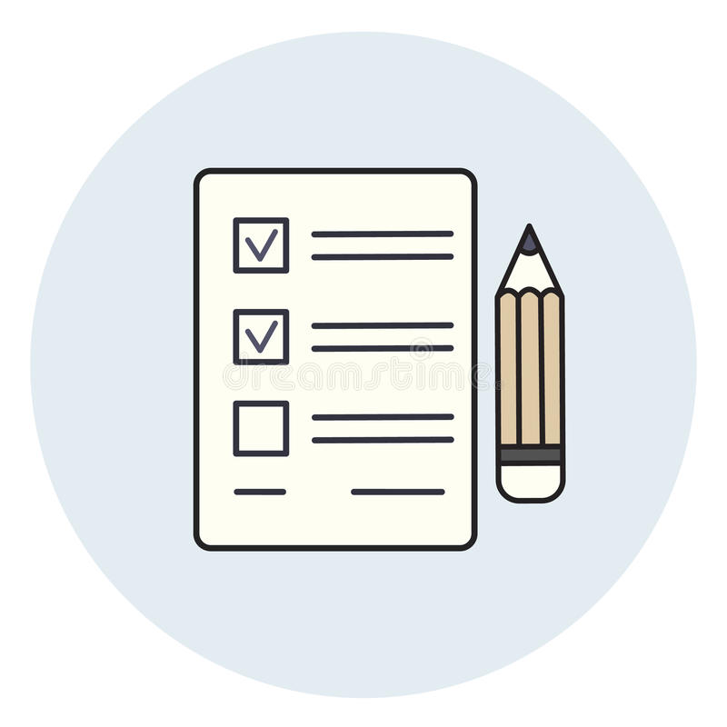 Pencil and paper icon, check list, exam test royalty free illustration