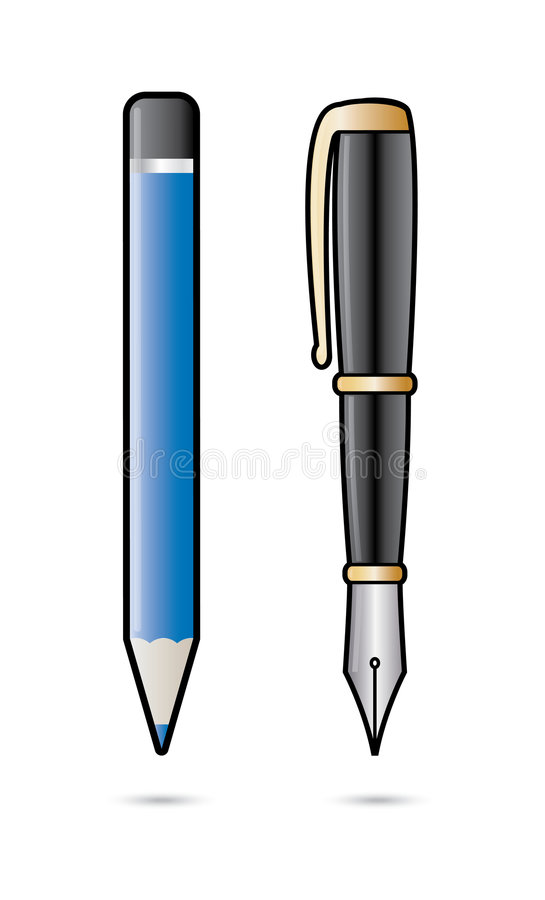 Pencil and pen royalty free illustration