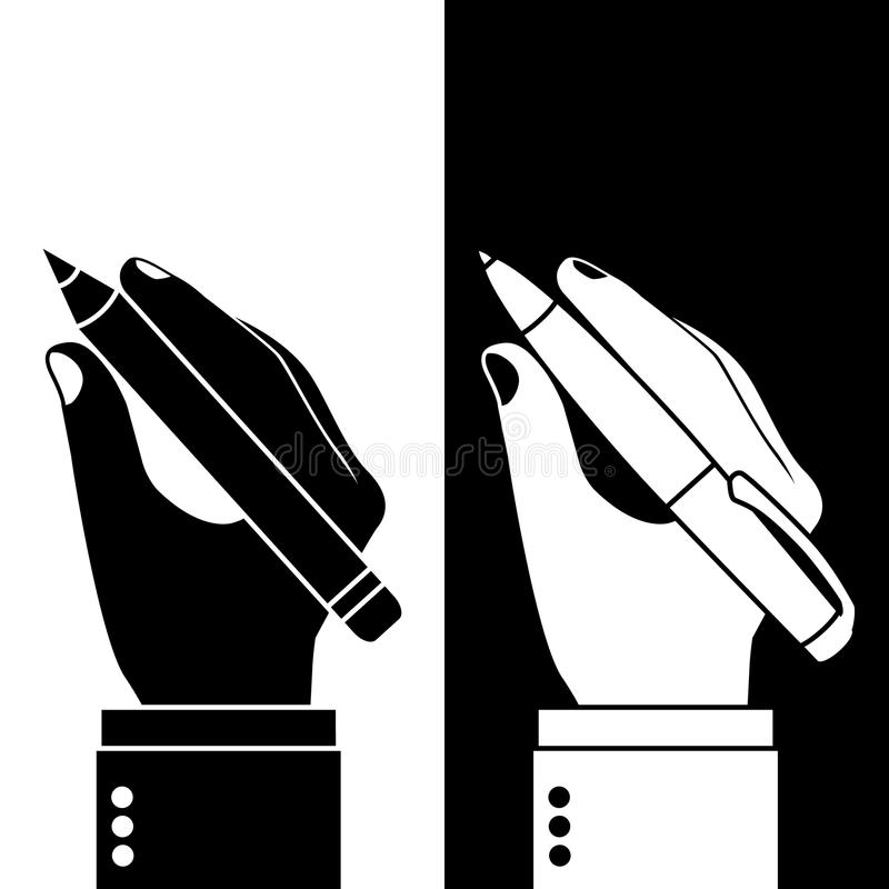 Pencil and pen in hand. Man holding a pencil and pen, set. Vector illustration, flat design. Writer, journalist, student. Writing. Black and white icons royalty free illustration