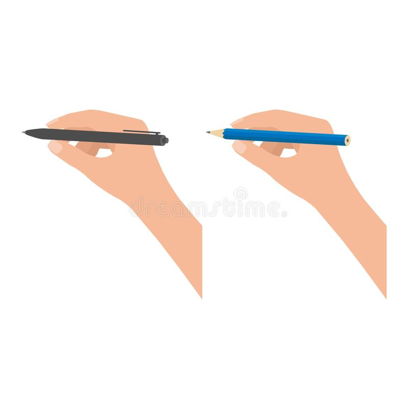 Pencil and pen hold in hand set for writing. Writer, journalist, student, leader. Hand writing man. Vector illustration. Pencil and pen hold in hand set for stock illustration