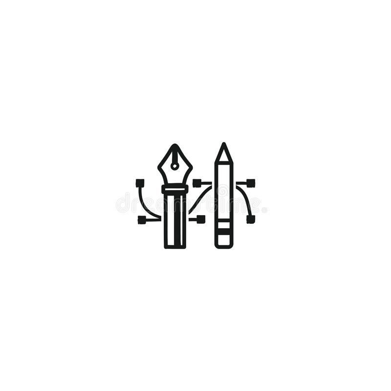 Pencil and Pen Tool icon. Drawing tools symbol. Badge, label for design agency, freelancers. Stock illustration isolated stock illustration