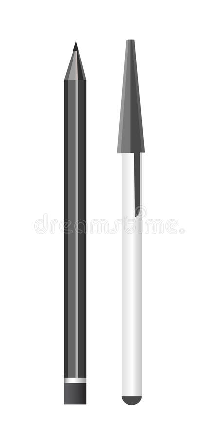 Pencil and pen. Vector realistic illustration. Office clean supplies royalty free illustration