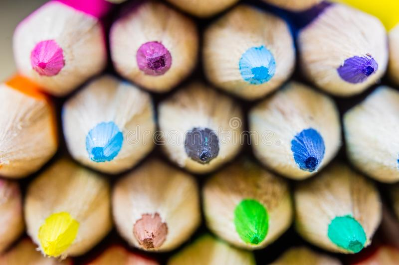 Pencil and pencils at high magnification. Stylus and crayon pencil for drawing and sketching for cartoonists. Light background royalty free stock photos