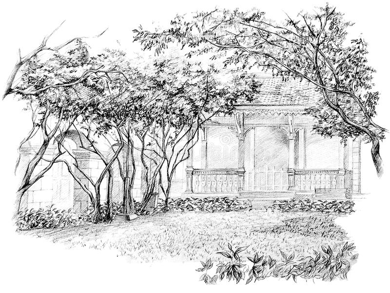 Download pencil perspective drawing of garden stock illustration illustration of value drawn 27492233