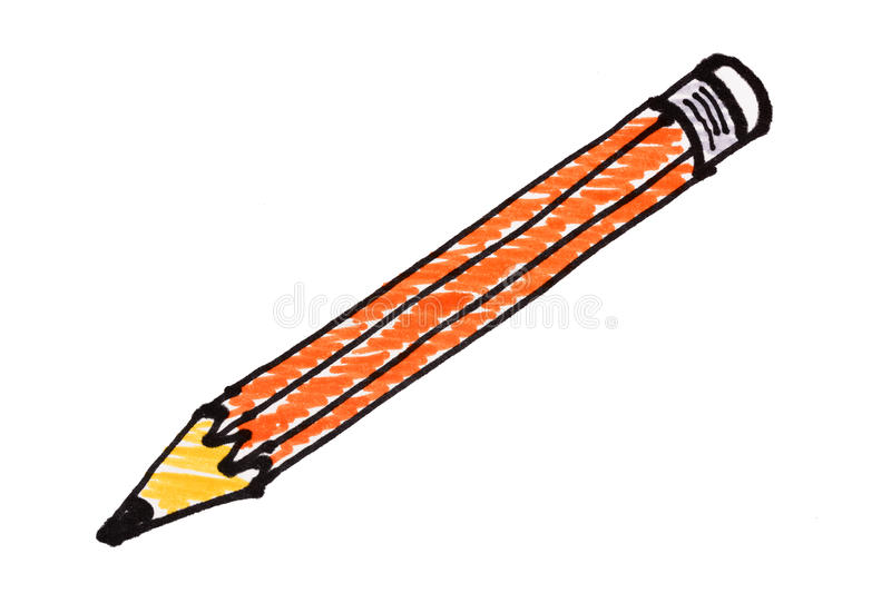 Pencil picture drawing by color pen. On white background vector illustration