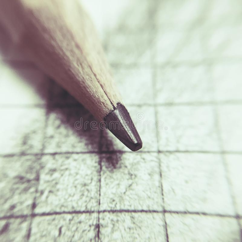 Pencil point. Detail on squared paper royalty free stock images