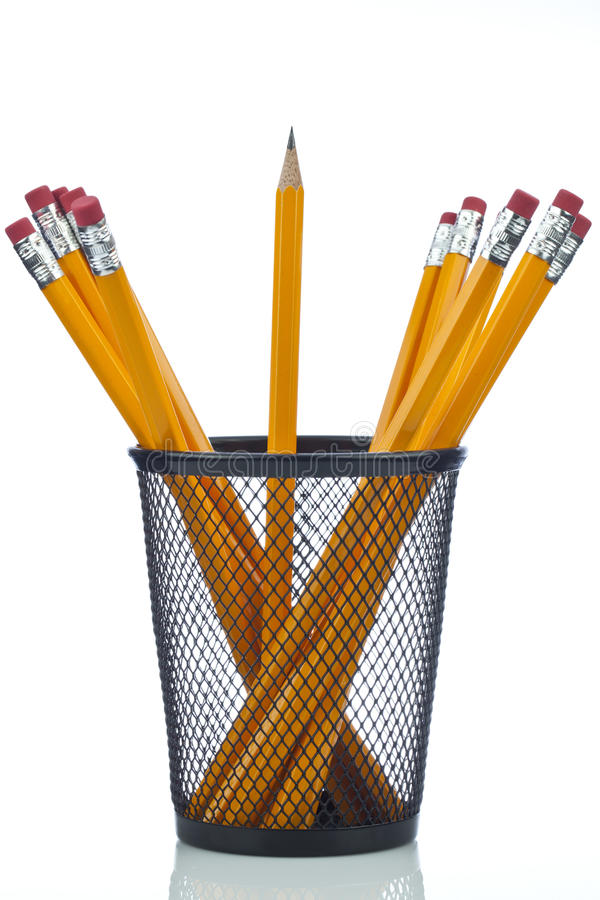 Pencil with pot. Yellow pencil with pencil pot on white background royalty free stock photography