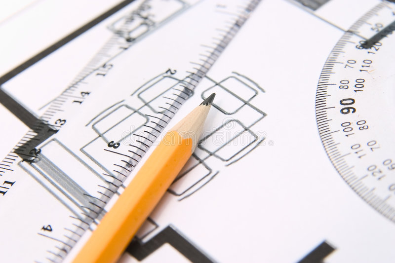 Pencil and a protractor royalty free stock image