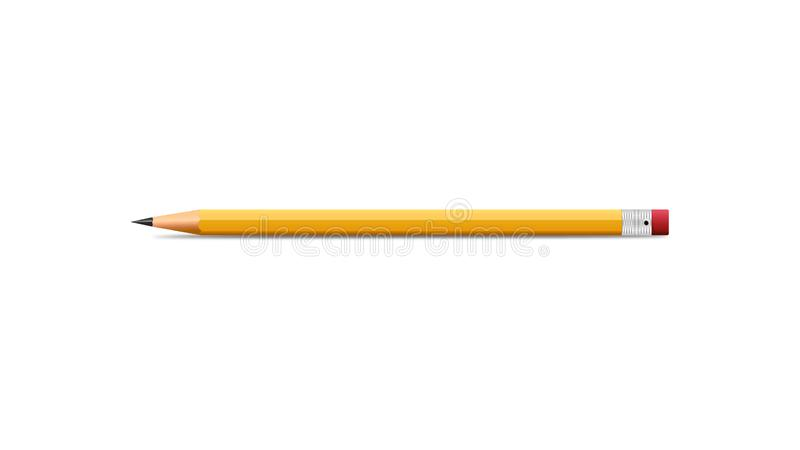Pencil realistic illustration vector design with white background stock illustration