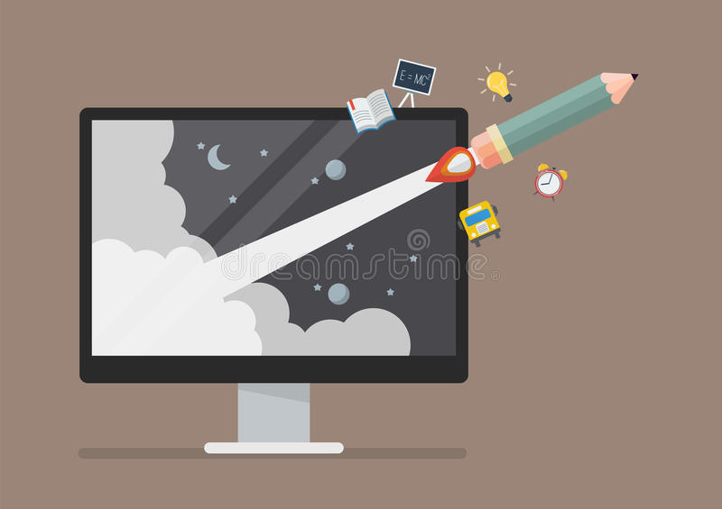 Pencil rocket launch out of computer monitor. Education online or e-learning concept stock illustration