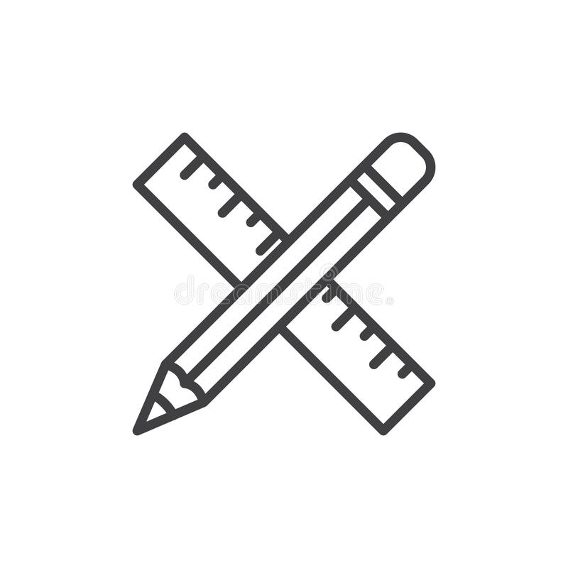Pencil and ruler crossed line icon royalty free illustration