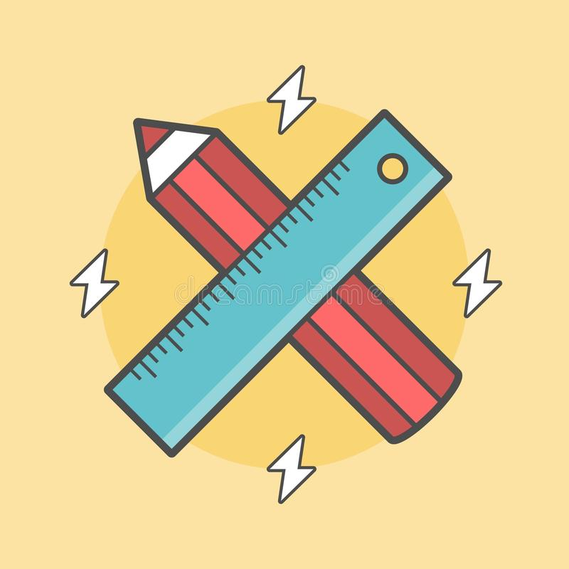 Pencil and ruler crossed vector illustration