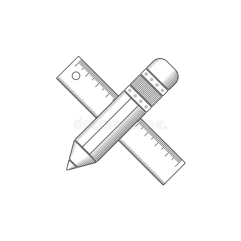 Pencil and ruler outline. stock illustration