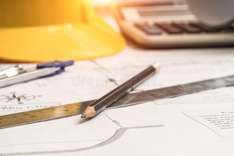 Pencil and ruler in the planning, construction, technical drawing. stock photo