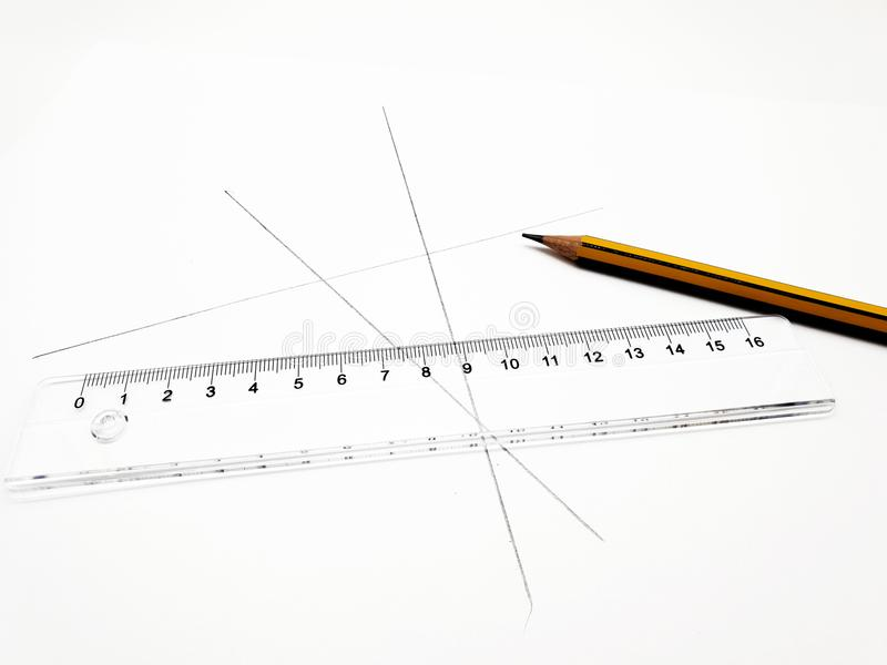 Pencil and ruler on white background royalty free stock images