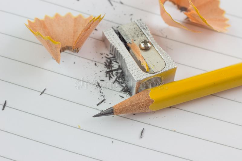 Pencil and sharpened stock images