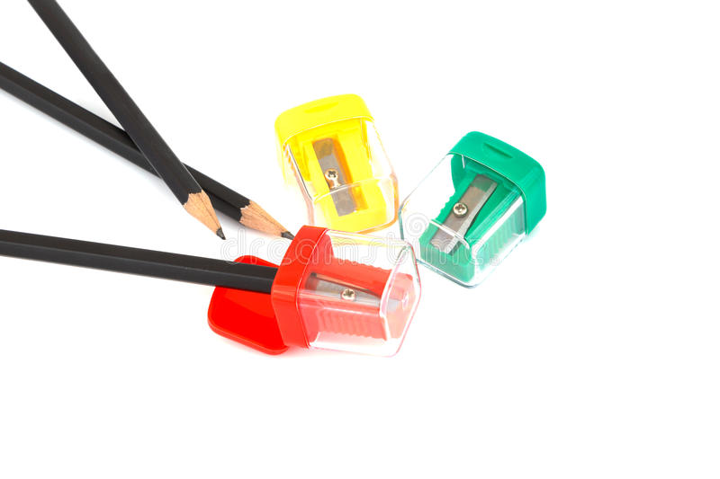 Pencil and sharpened on white background stock image